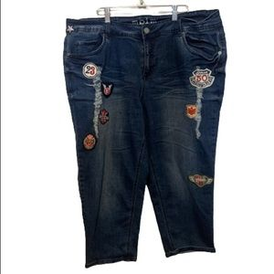 Mblm Plus Size Cropped Jeans With Distressing and Patches